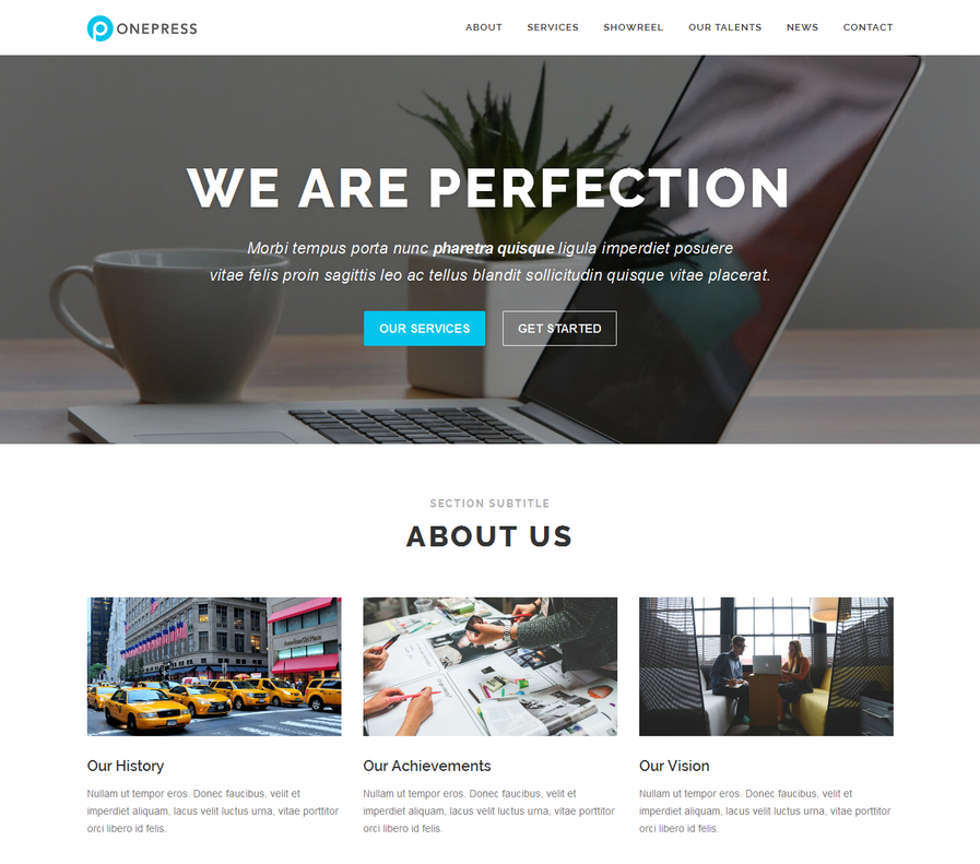 Best free wordpress themes march 2016 designazure onepress free business wordpress theme friedricerecipe Gallery