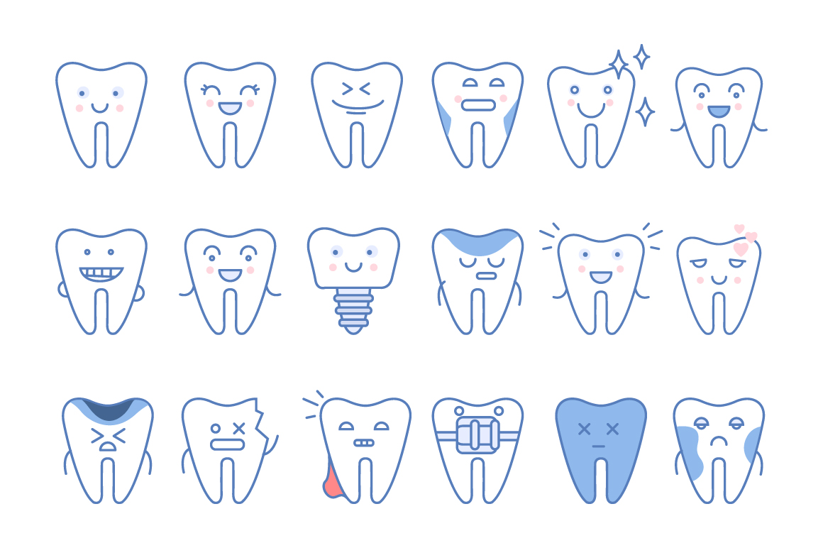 ooth-icons-set-dental-collection