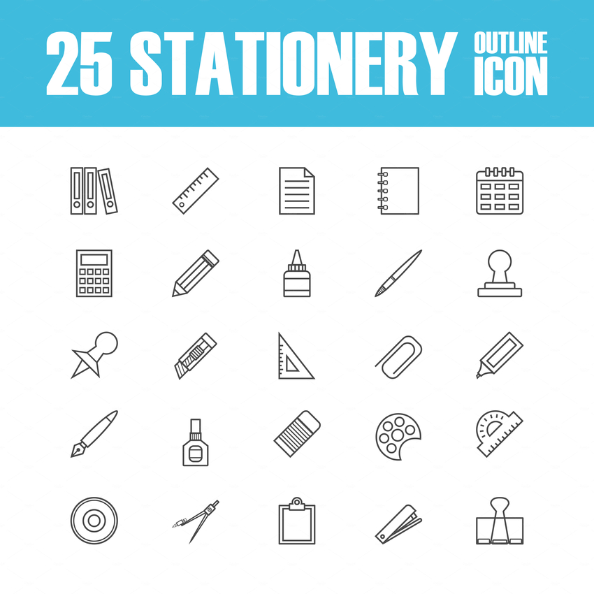 set of outline stationery icon