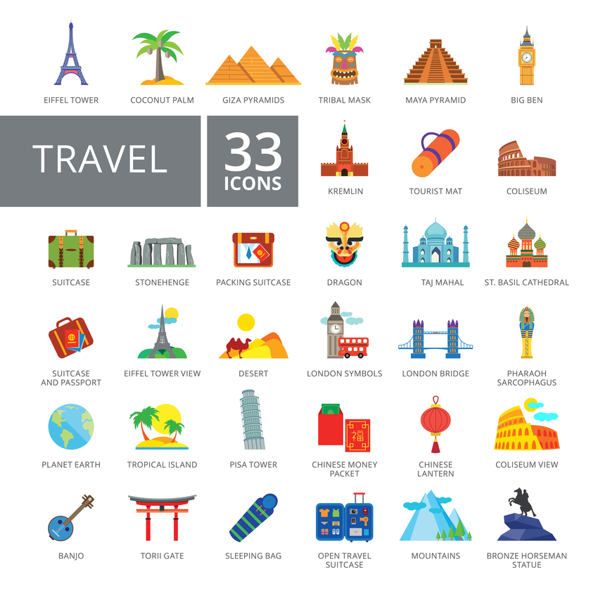 Set of 33 flat vector icons representing travelling and tourism concepts