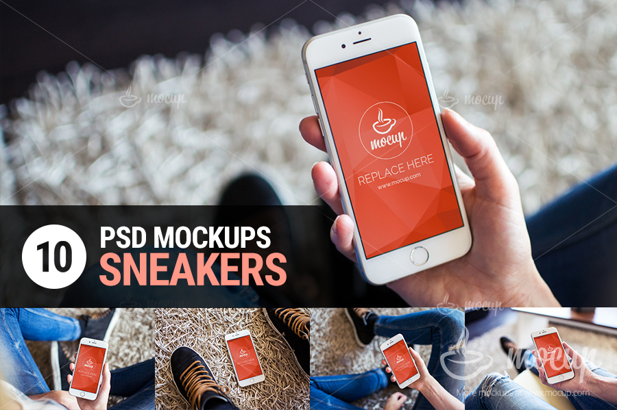 10-PSD-Mockups-iPhone-6-Sneakers