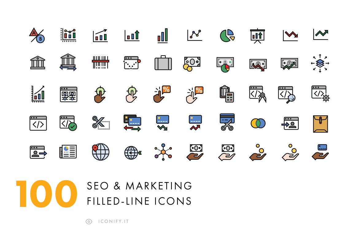 100-Filled-Line-SEO-Business-Icons