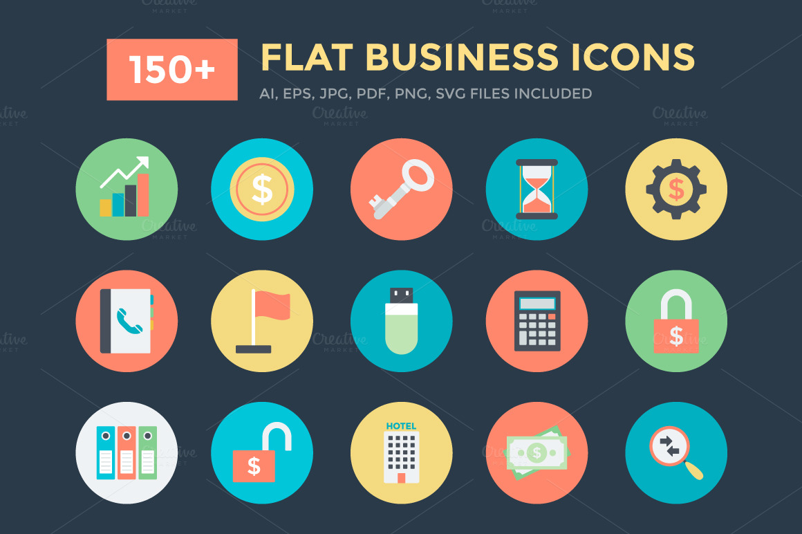 150-Flat-Business-Vector-Icons