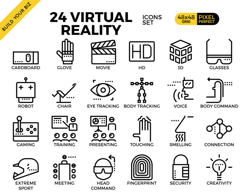 Virtual reality pixel perfect outline icons modern style for website