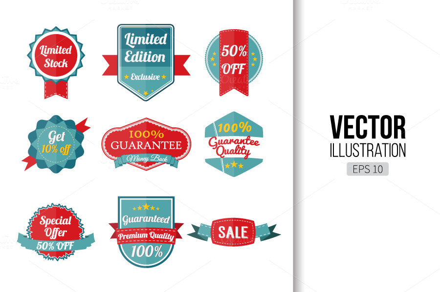 Set-of-retro-labels-and-banners