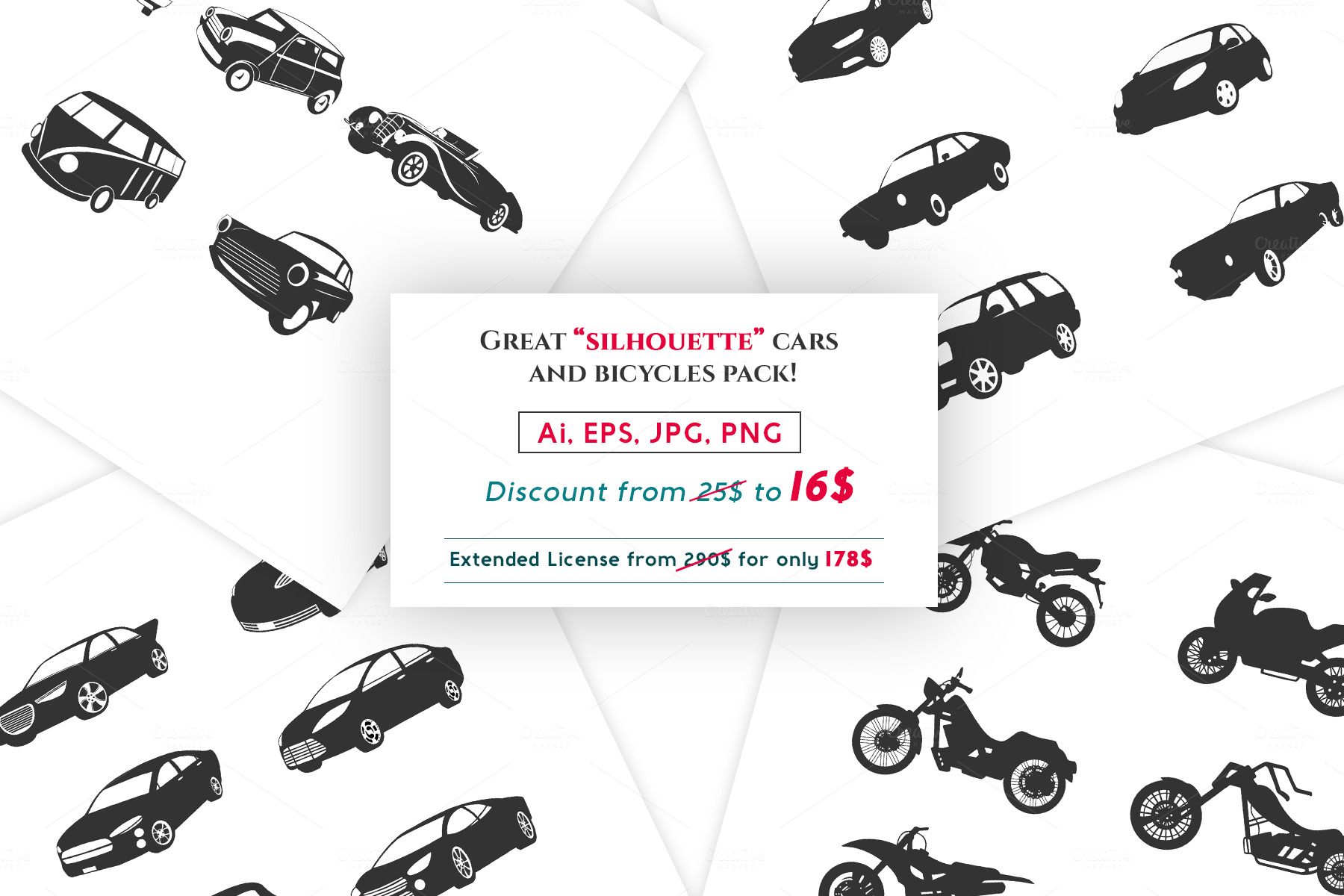 Silhouette-car-and-bike-icon-pack