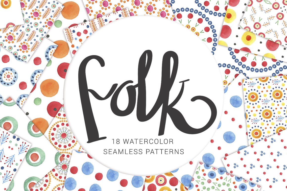 Watercolor-folk-seamless-patterns