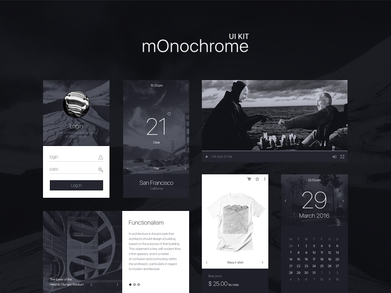 monochrome-ui-kit-freebie