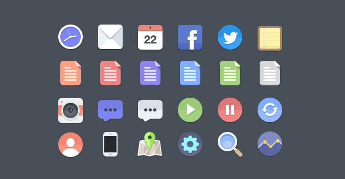 24-flat-icons-psd