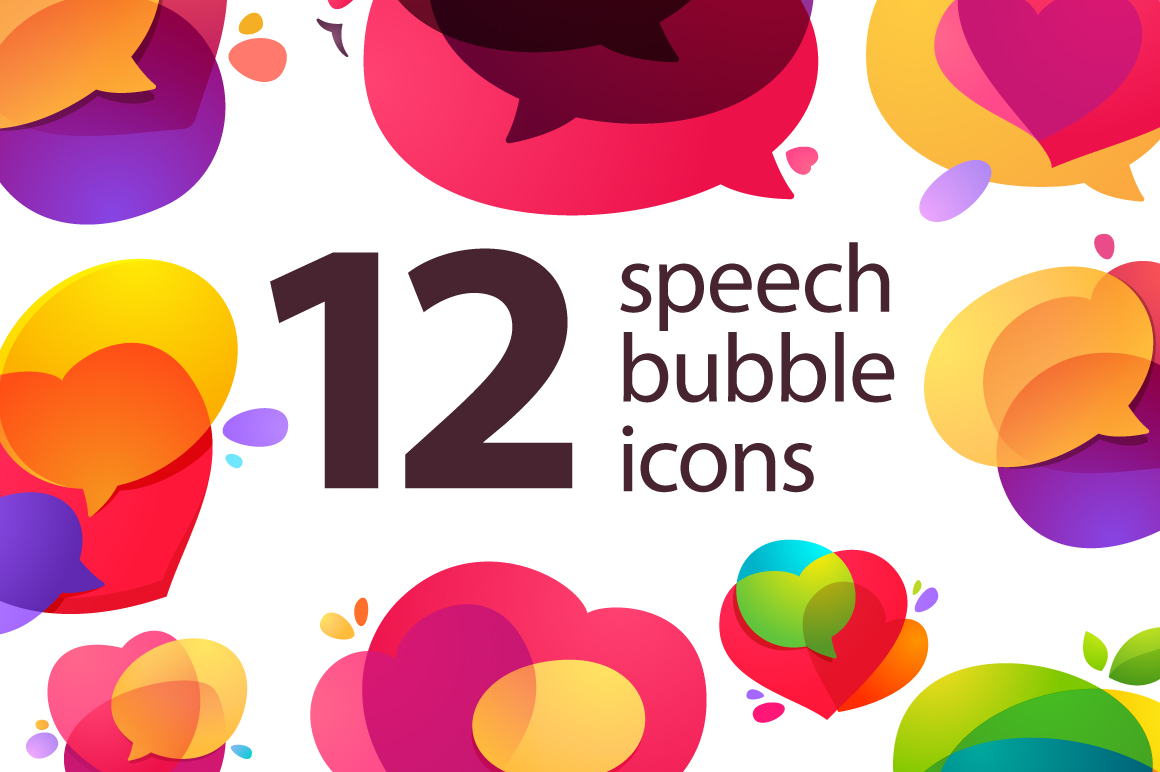 12-speech-bubble-icons