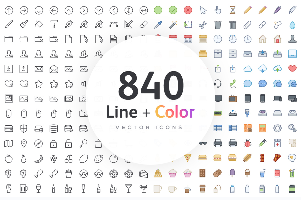 840-Line-Color-Vector-Icons