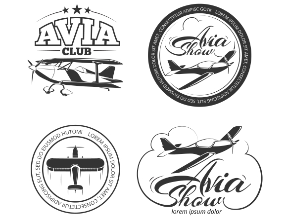 Aviation and airplane vector logo set. Avia club badges, avia show emblems and avia travel labels vector