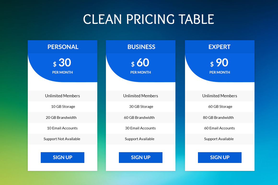 Clean-Pricing-Tables