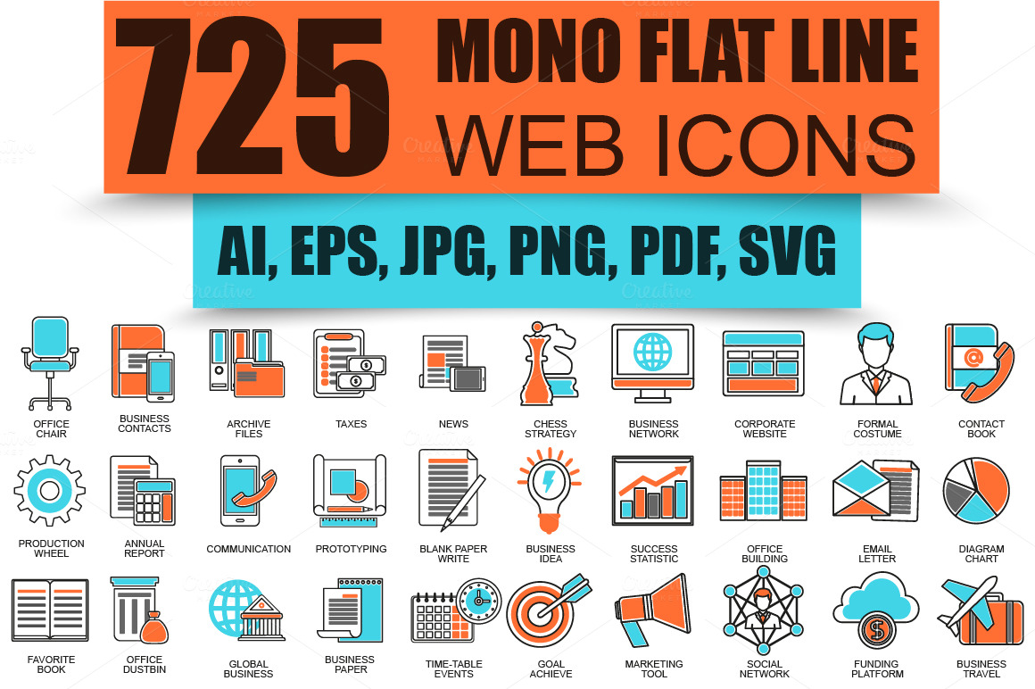 Flat-Line-Business-Web-Icons