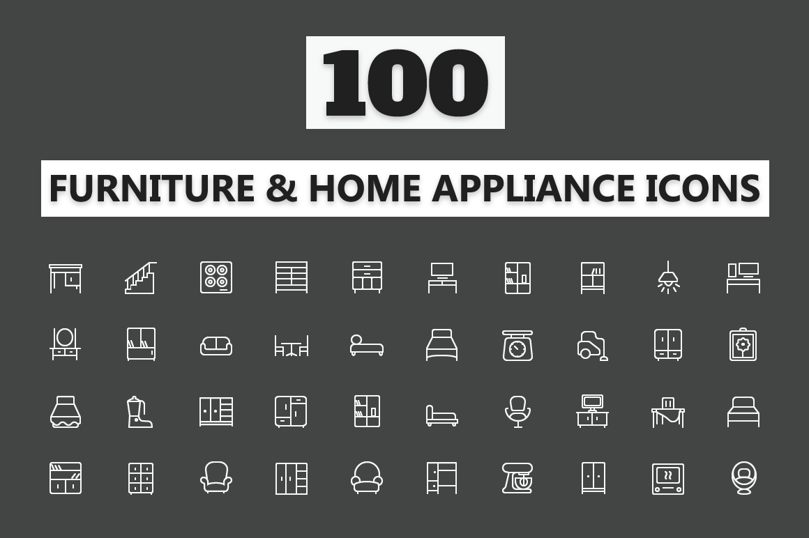Home-Appliances-Furniture-Line-Icons