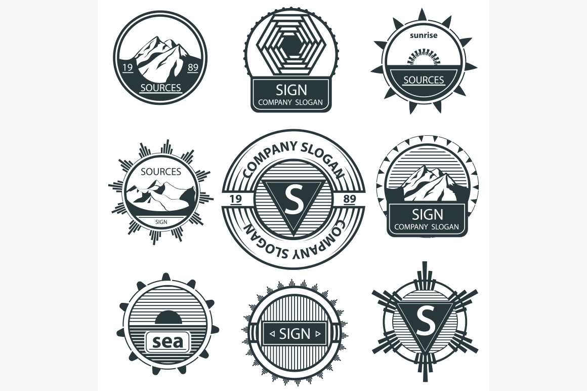 Set emblems theme of natural landscape mountains. Labels and signs. Vector illustration Isolated