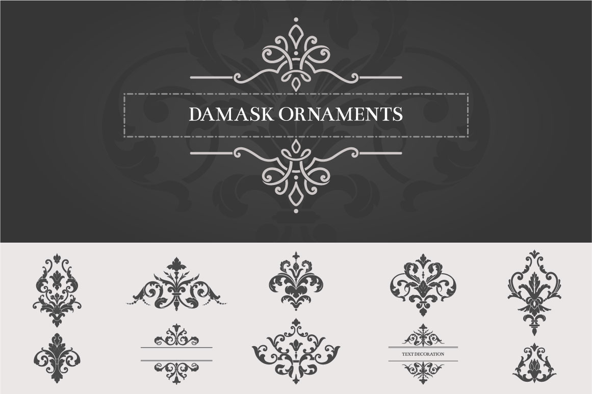 Vintage-Damask-Ornaments-II
