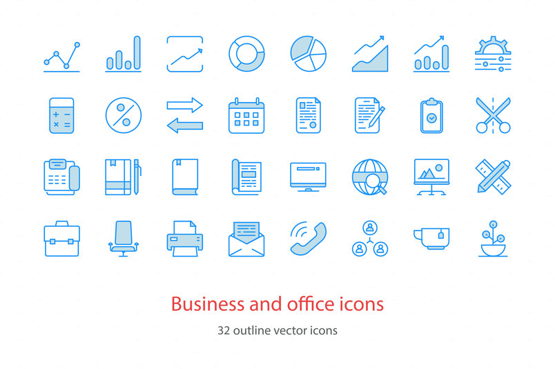 Set of vector outline business and office icons.