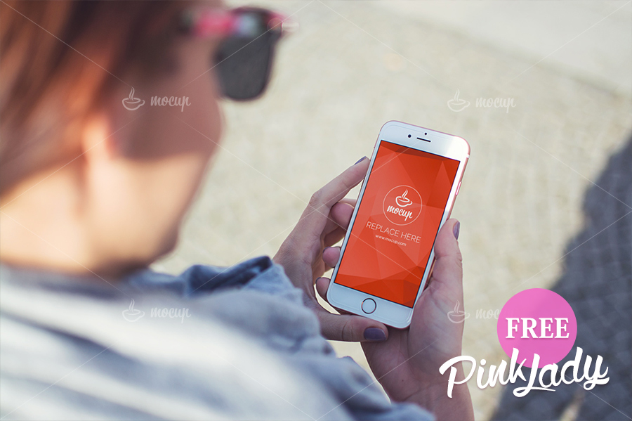 free-psd-mockup-iphone-pink-lady