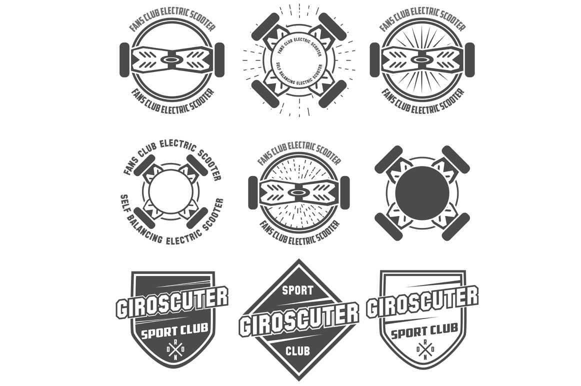 giroskuter-labels-vector