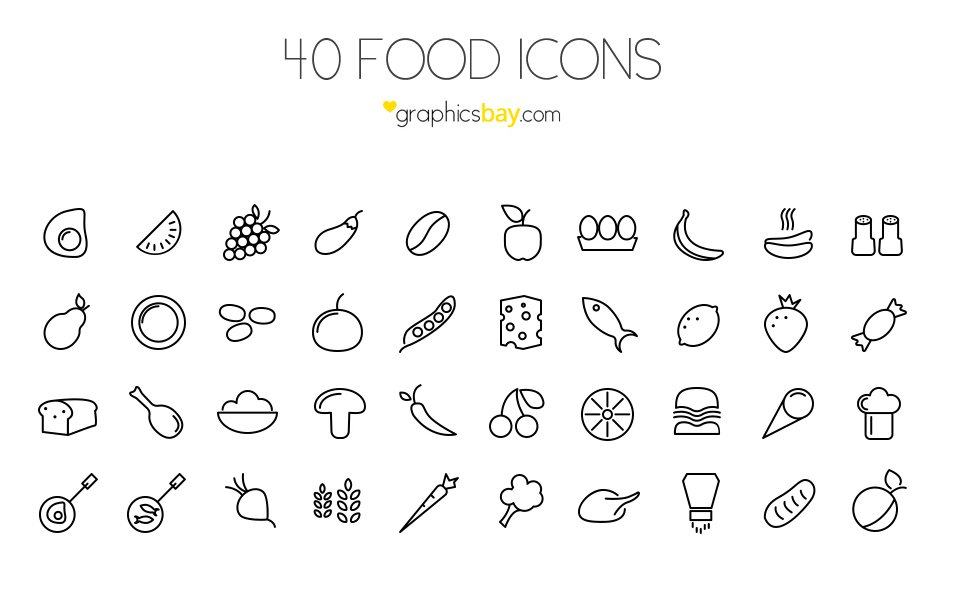 40-Food-Icons-PSD