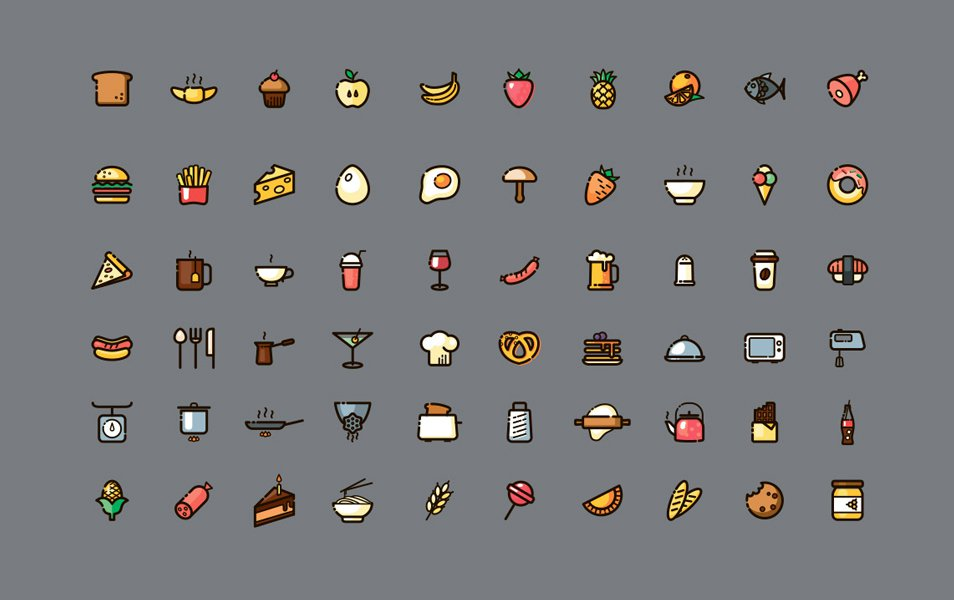 60-line-and-fills-food-icons