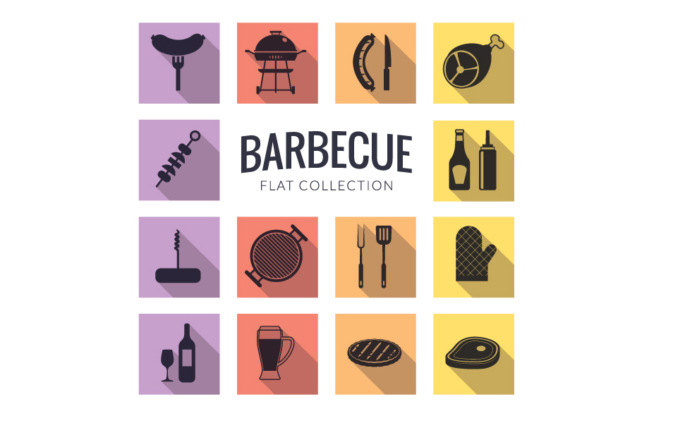 Barbecue-flat-icon-set