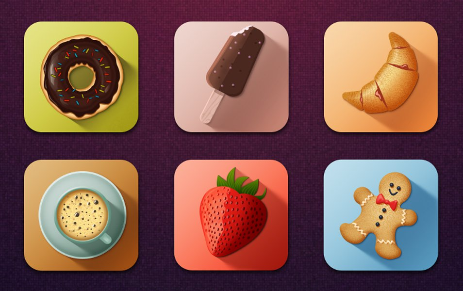 Colorful-Long-Shadow-Tasty-Food-Icons-PSD