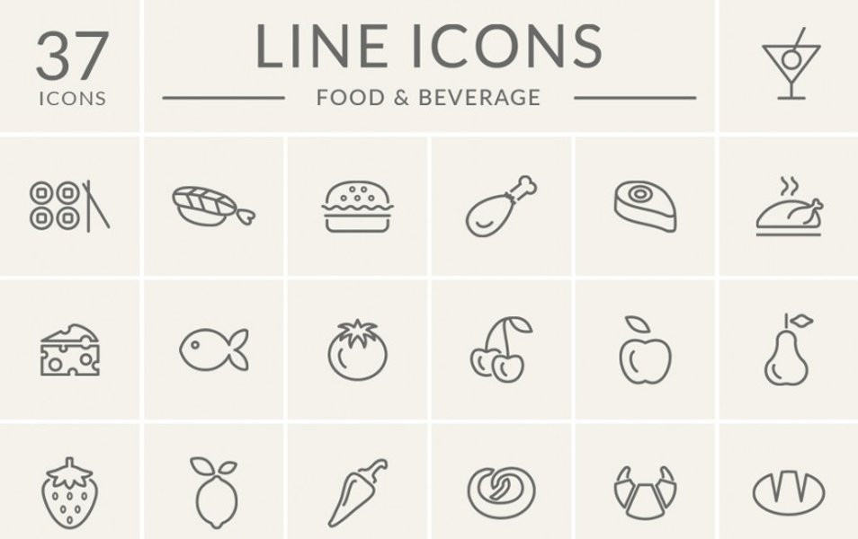 Food-And-Beverage-Line-Icon-Set