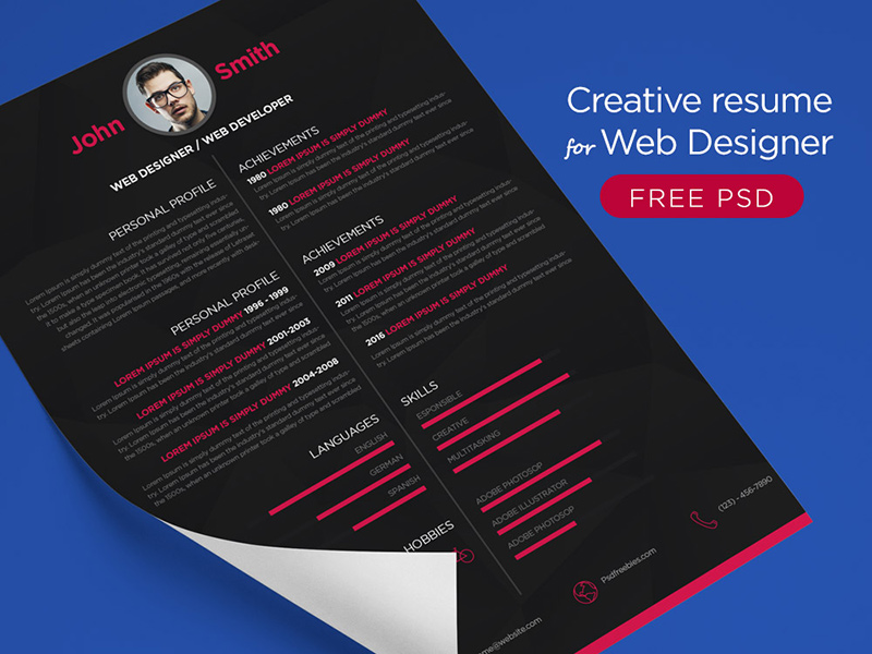 Free-Creative-Resume-For-Web-Designer-Psd