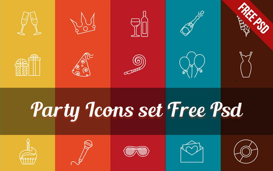 Party-Icons-set-Free-Psd