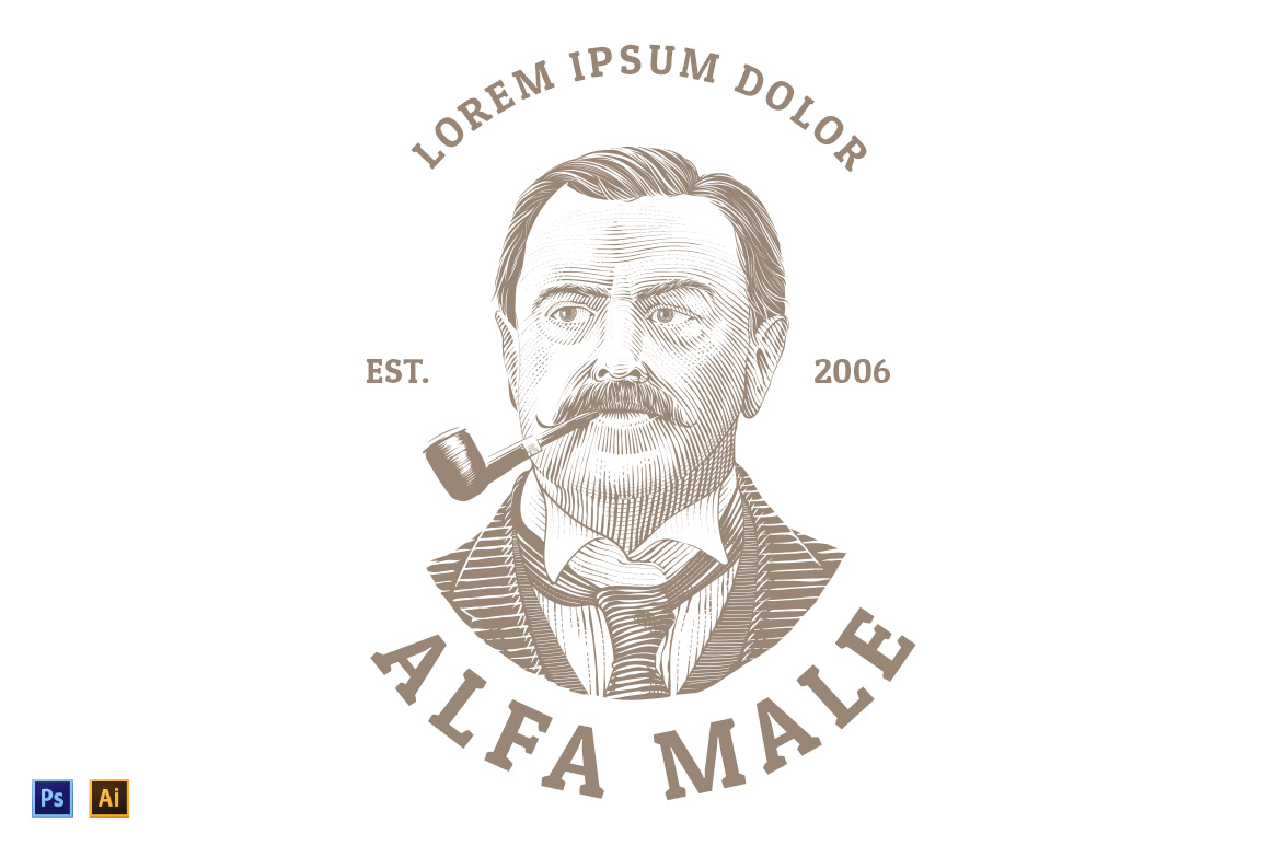 Vintage-Logo-with-Classic-Man