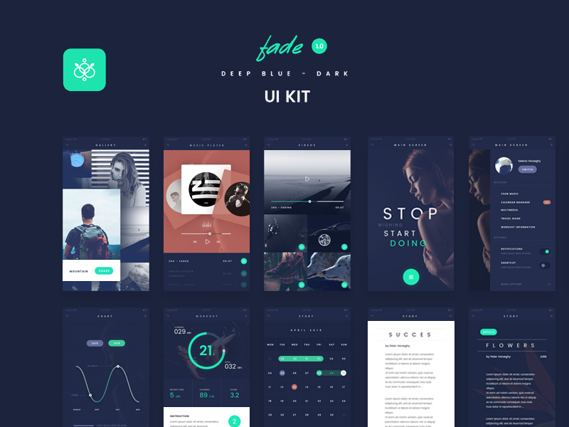 fade-app-ui-kit-freebie