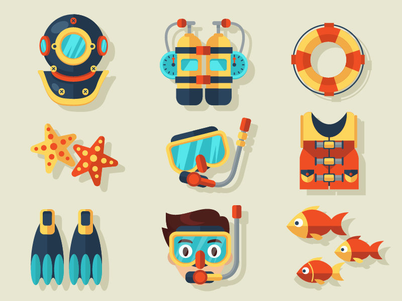 free-diving-vector-elements-2