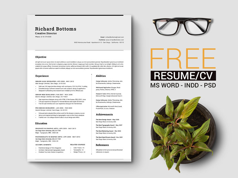 free-timeless-resume-cv-with-us-letter-a4-2