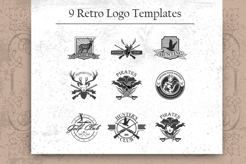 9-retro-logo-template-set-2