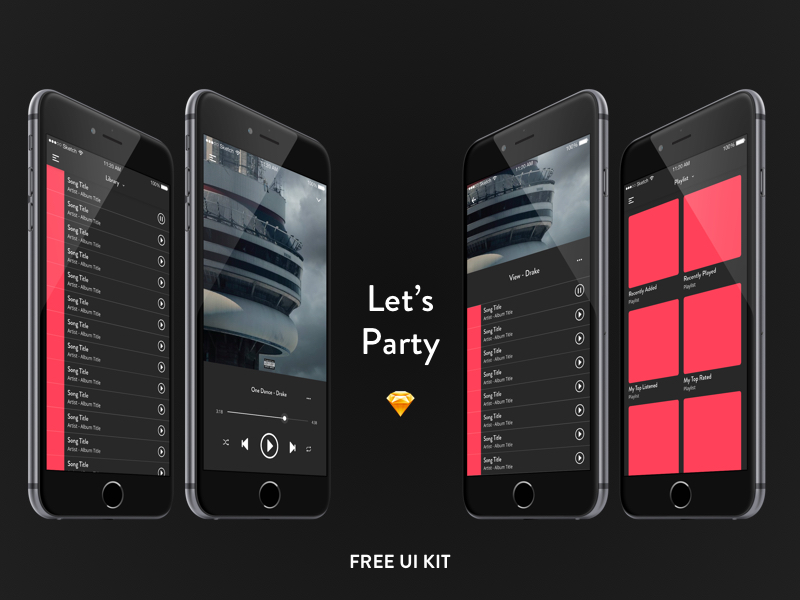 Black-Music-Free-UI-KIT