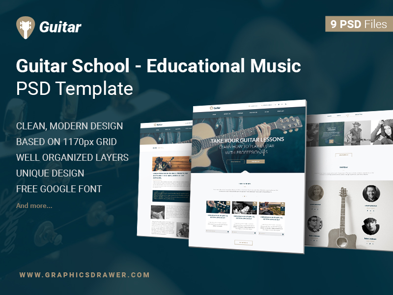 Guitar-School-Educational-Music-FREE-PSD-Template