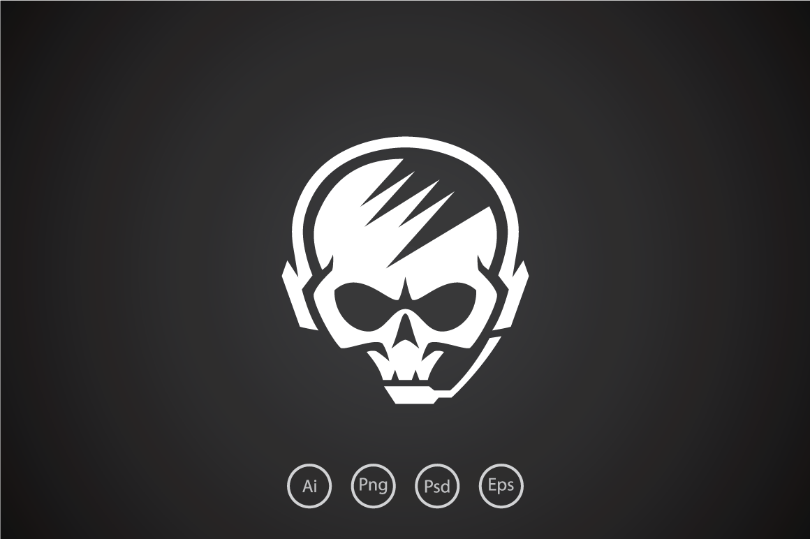 Hardcore-Skull-Gamer-Logo-Template
