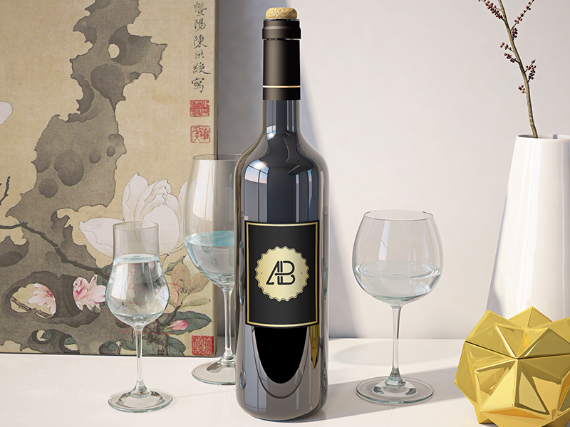 Realistic-Wine-Bottle-Mockup