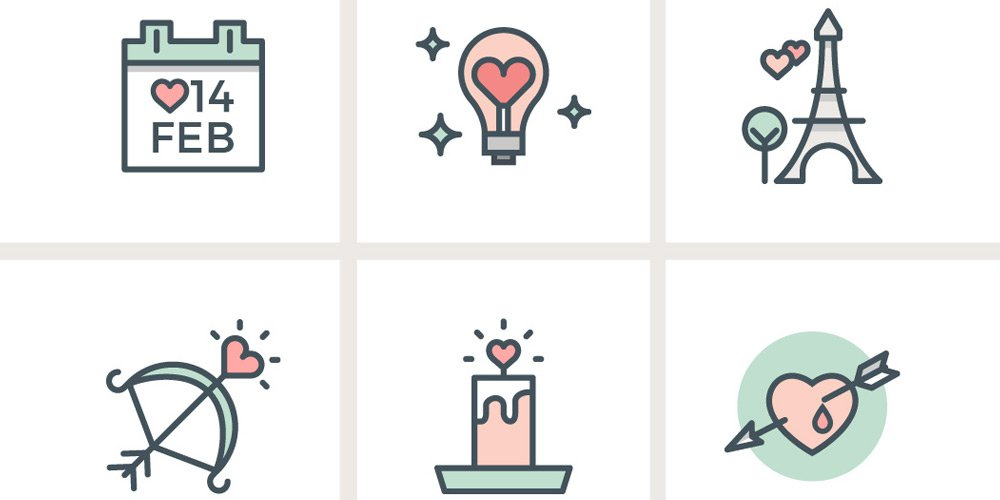 Valentines-Day-Flat-Line-Icons