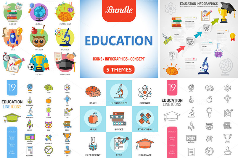 5 Education Themes - Icons, Infographics and Concepts. Vector Template for Cover, Flyer, Brochure, Advertising. The archive contains the following file types: - EPS 10 separately for each theme; - High Quality JPG (5000px) separately for each theme. Thank You!
