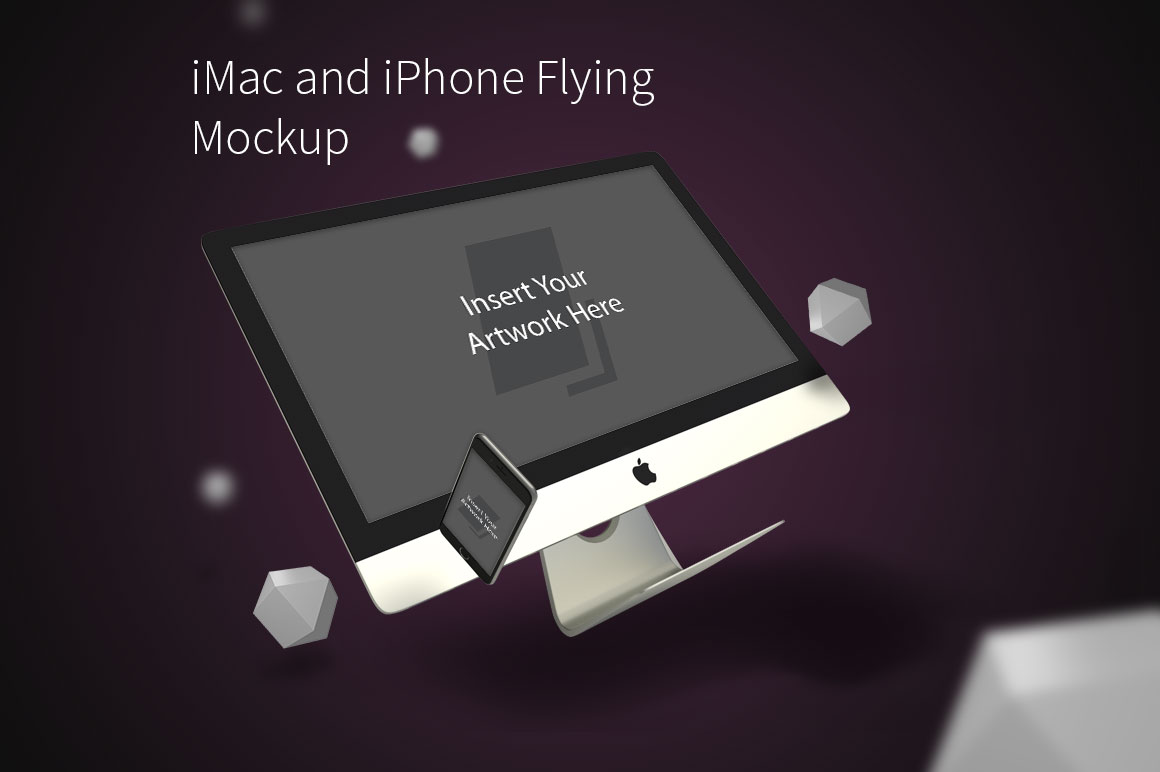 iMac-and-iPhone-Flying-Mockup