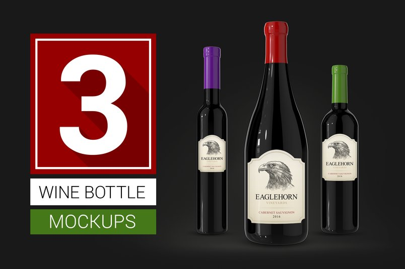 30 realistic wine bottle psd mockup templates. Black Bedroom Furniture Sets. Home Design Ideas