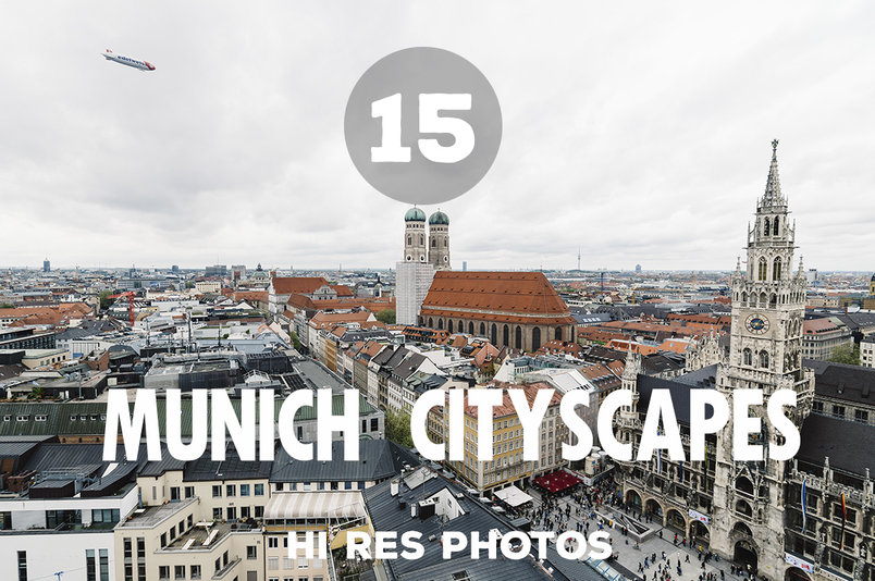 Munich, Germany - May 05, 2015: Aerial cityscape from the tower a cloudy day. City hall, Cathedral (Frauenkirche) and St Peters church are around MarienPlatz, the first touristic and commercial attraction in Munich.