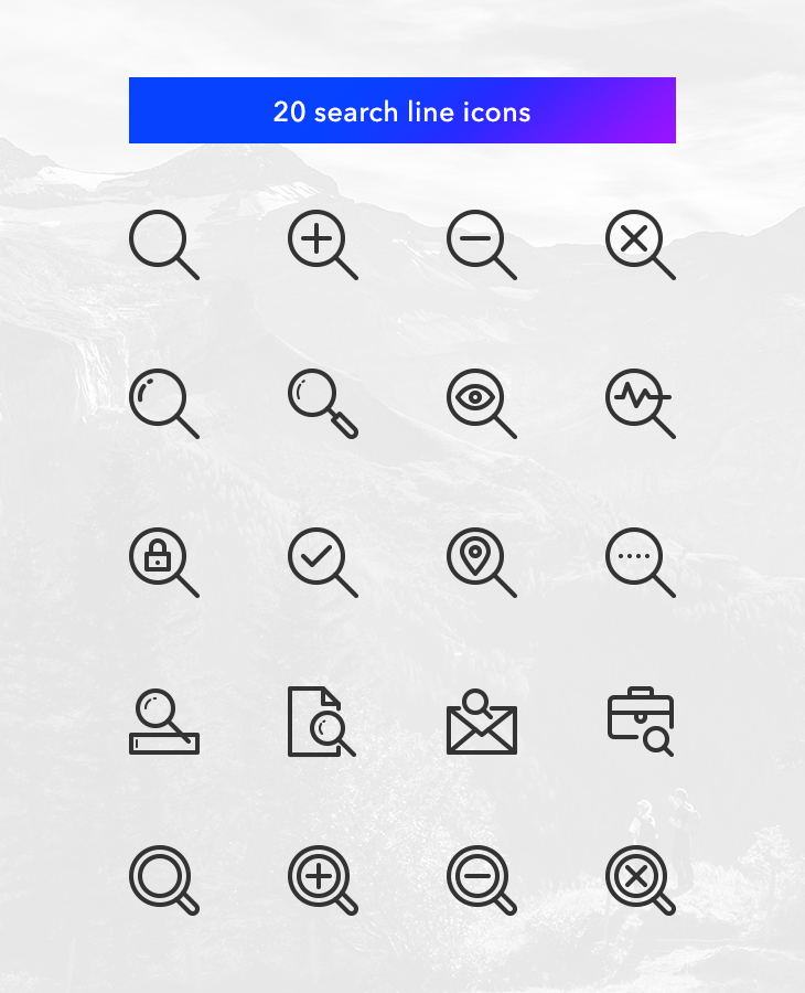 freebie-search-vector-line-icons-set