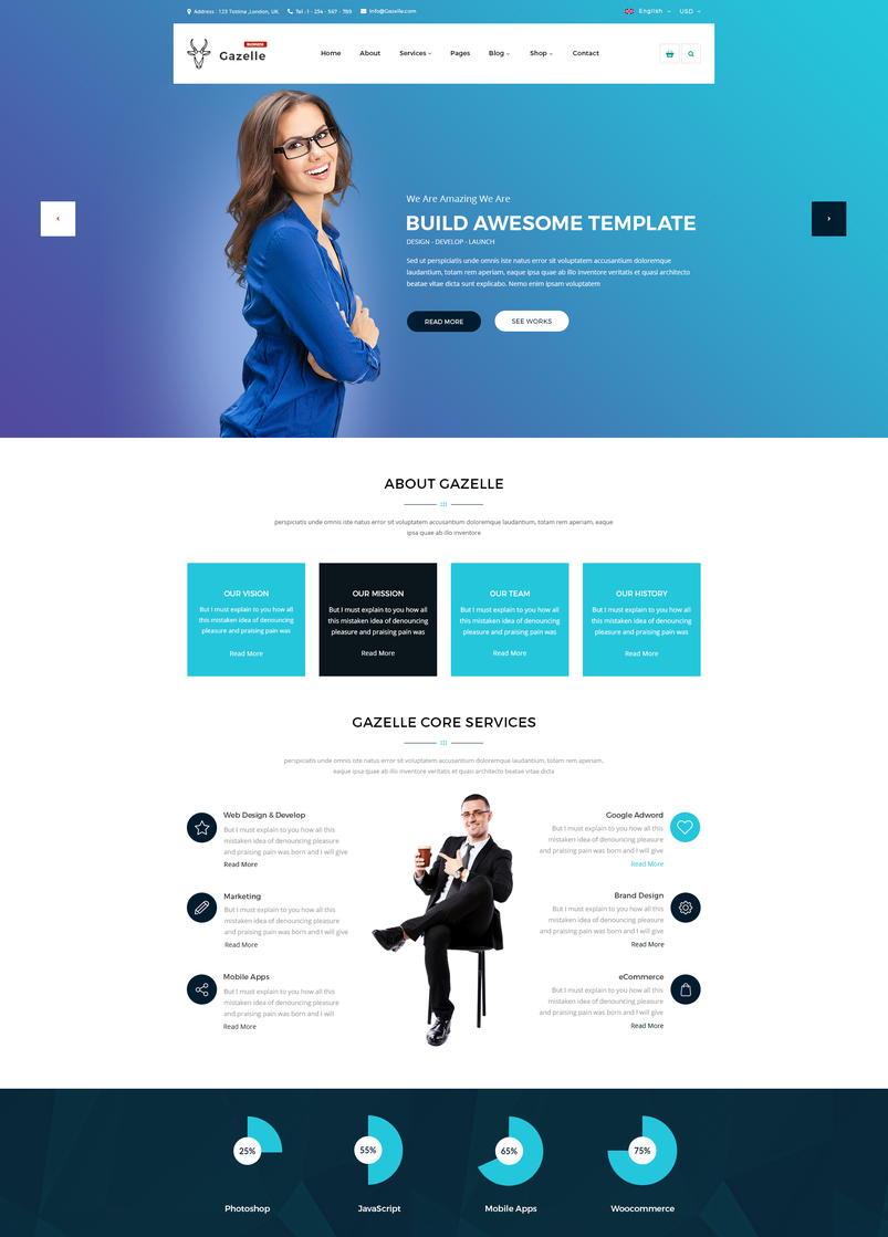 Latest creative website psd templates september 2016 gazelle business psd template wajeb Choice Image