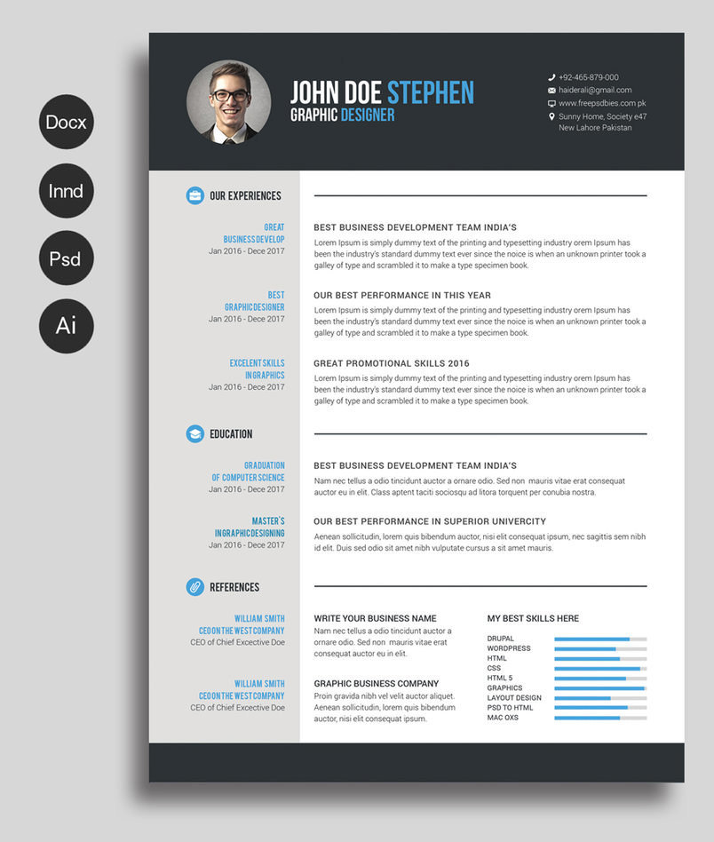 Exclusive freebie professional resume cv design template resume cv 01 yelopaper Image collections