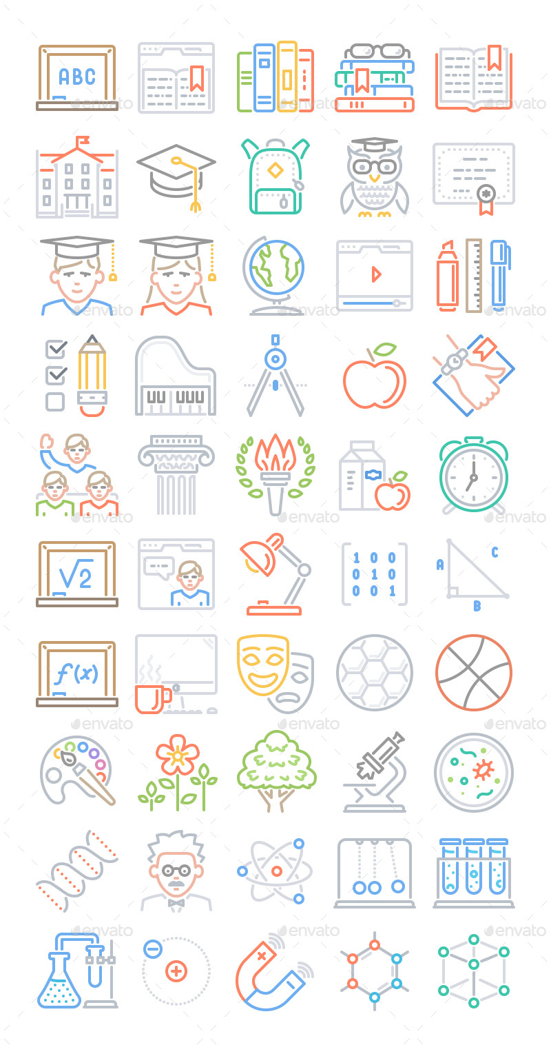 50-education-line-icons