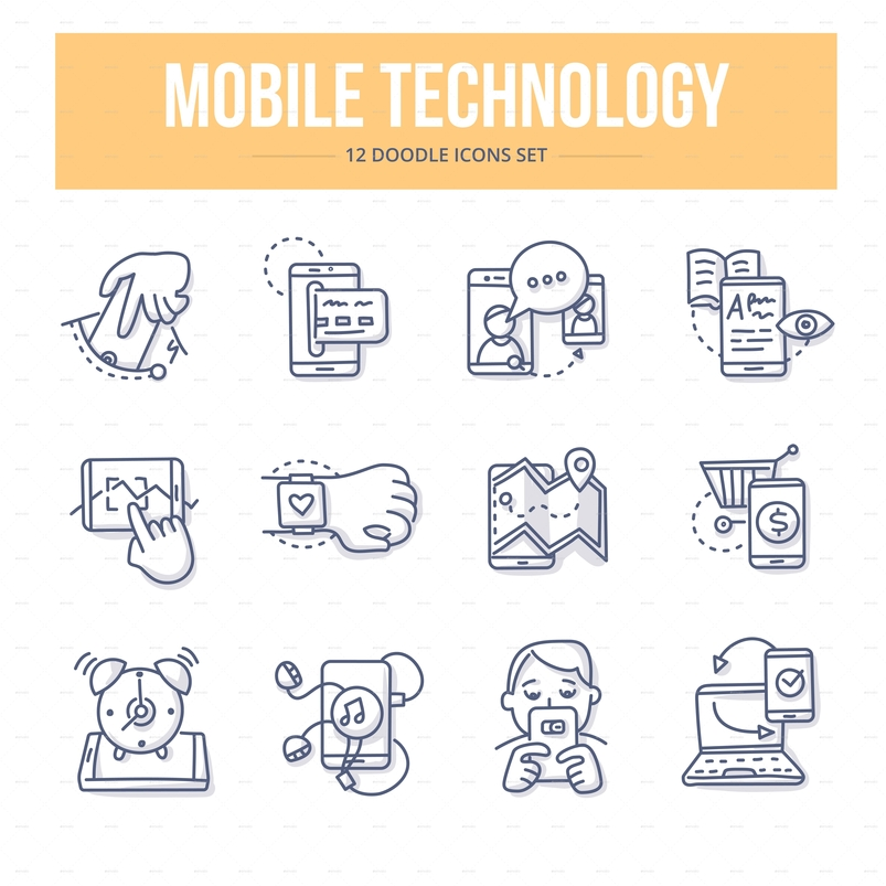 Doodle vector line icons set of using mobile technology in business and everyday life